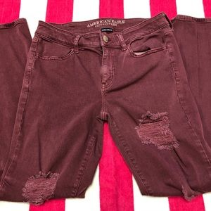 american eagle | maroon distressed jeggings